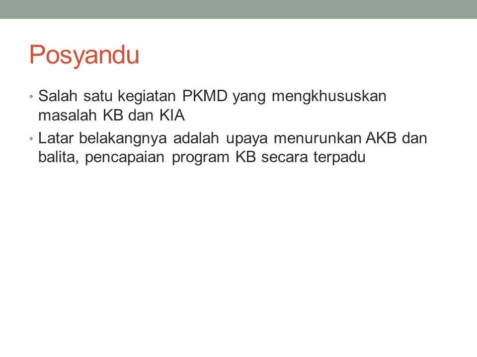 Posyandu Salah satu kegiatan PKMD yang mengkhususkan masalah KB dan KIA Latar belakangnya adalah upaya menurunkan AKB dan balita, pencapaian program K