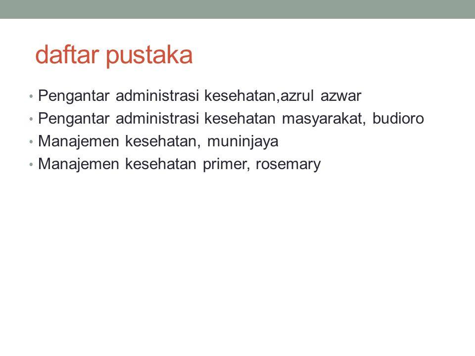 daftar pustaka Pengantar administrasi kesehatan,azrul azwar Pengantar administrasi kesehatan masyarakat, budioro Manajemen kesehatan, muninjaya Manaje