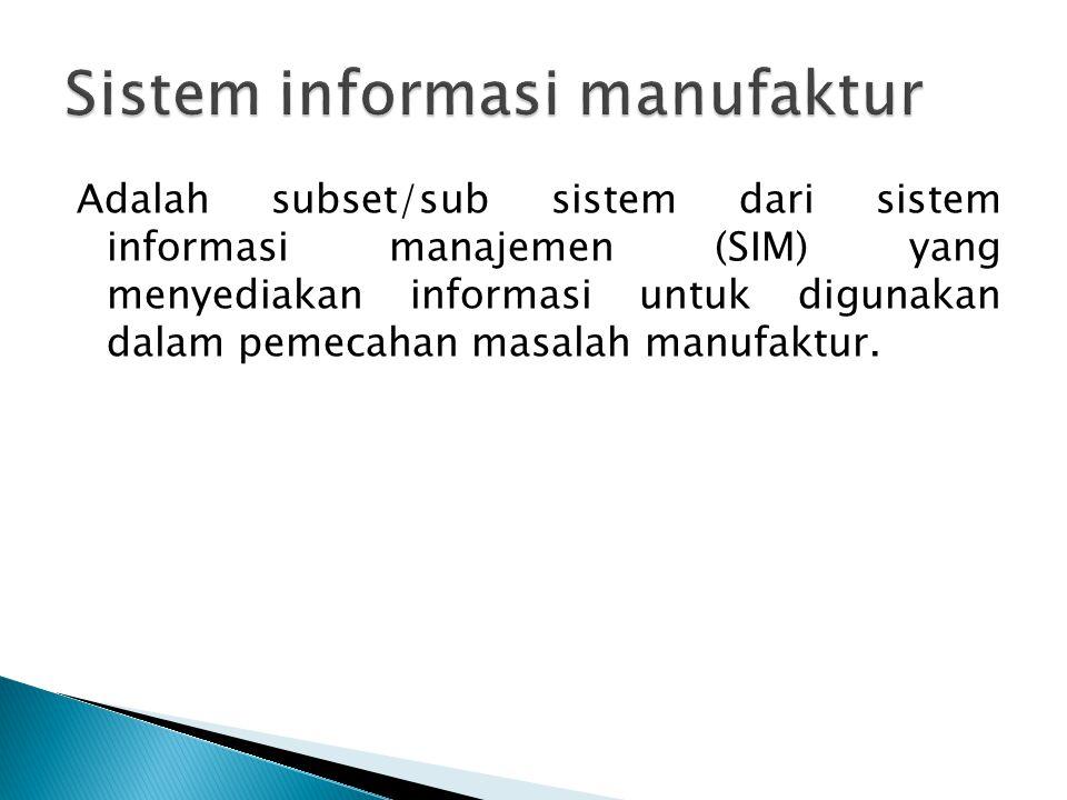 Adalah subset/sub sistem dari sistem informasi manajemen (SIM) yang menyediakan informasi untuk digunakan dalam pemecahan masalah manufaktur.