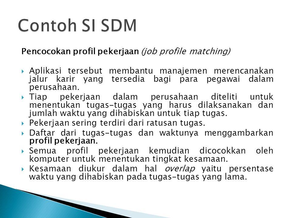 Pencocokan profil pekerjaan (job profile matching)  Aplikasi tersebut membantu manajemen merencanakan jalur karir yang tersedia bagi para pegawai da