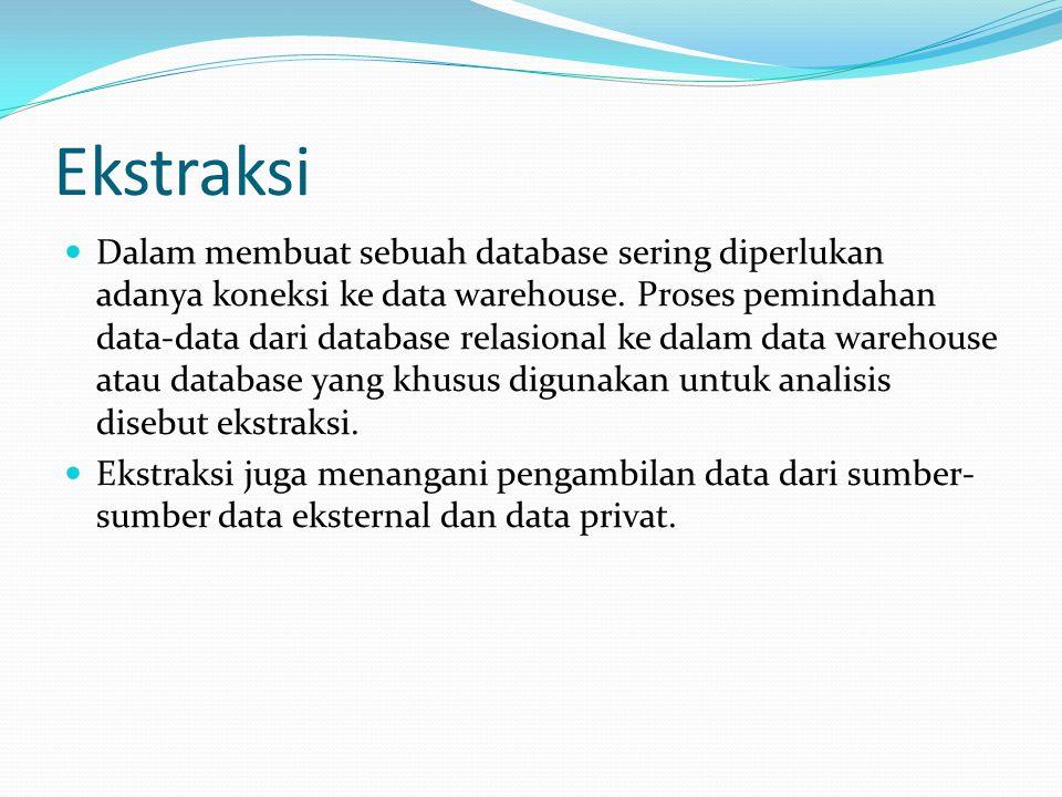 Ekstraksi Dalam membuat sebuah database sering diperlukan adanya koneksi ke data warehouse. Proses pemindahan data-data dari database relasional ke da