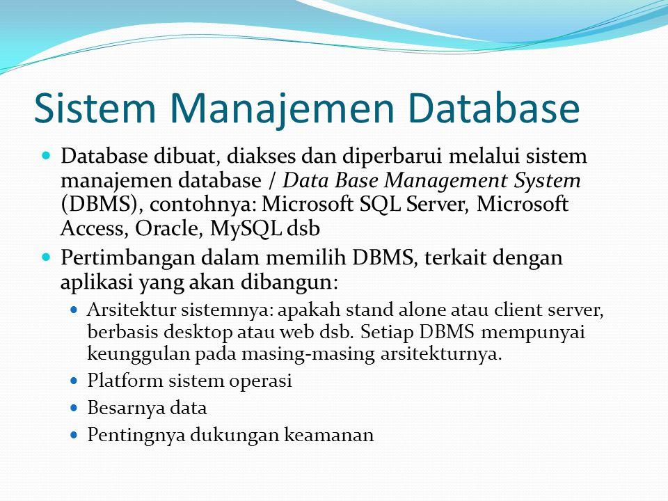 Sistem Manajemen Database Database dibuat, diakses dan diperbarui melalui sistem manajemen database / Data Base Management System (DBMS), contohnya: M