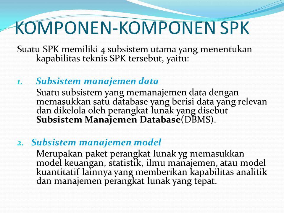 KOMPONEN-KOMPONEN SPK Suatu SPK memiliki 4 subsistem utama yang menentukan kapabilitas teknis SPK tersebut, yaitu: 1. Subsistem manajemen data Suatu s
