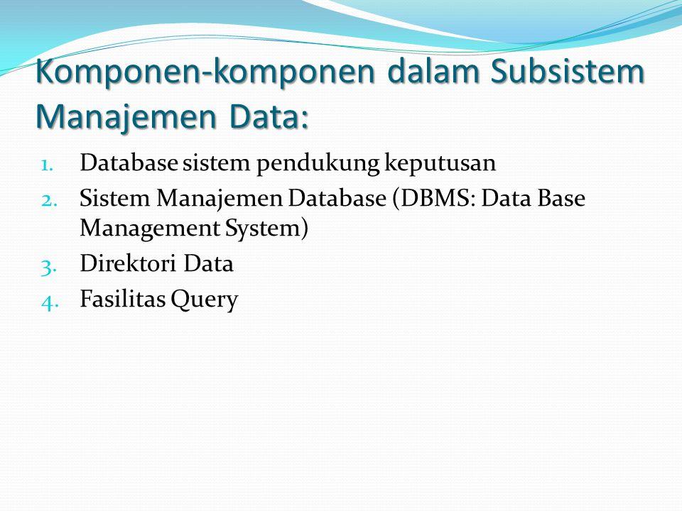 Komponen-komponen dalam Subsistem Manajemen Data: 1. Database sistem pendukung keputusan 2. Sistem Manajemen Database (DBMS: Data Base Management Syst