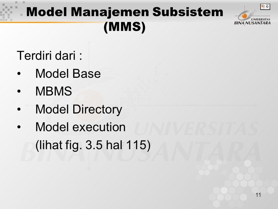 11 Model Manajemen Subsistem (MMS) Terdiri dari : Model Base MBMS Model Directory Model execution (lihat fig. 3.5 hal 115)
