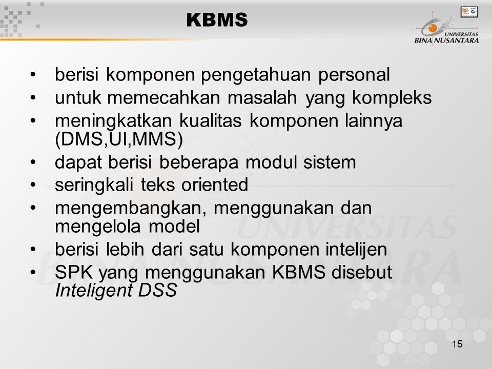 15 KBMS berisi komponen pengetahuan personal untuk memecahkan masalah yang kompleks meningkatkan kualitas komponen lainnya (DMS,UI,MMS) dapat berisi b