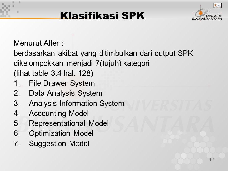 17 Klasifikasi SPK Menurut Alter : berdasarkan akibat yang ditimbulkan dari output SPK dikelompokkan menjadi 7(tujuh) kategori (lihat table 3.4 hal. 1