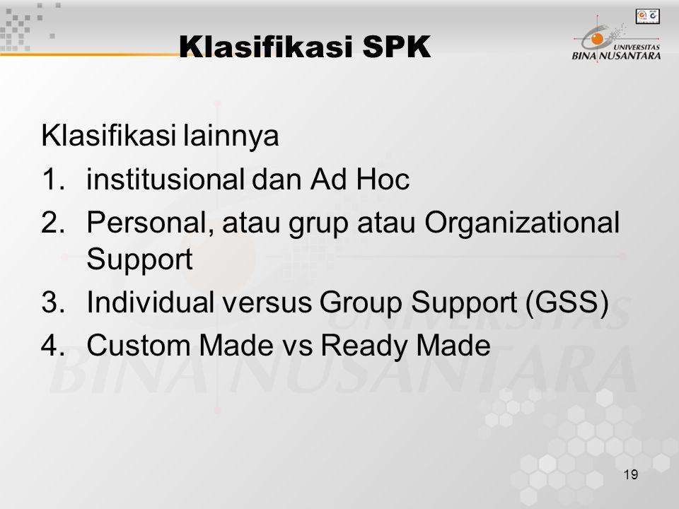 19 Klasifikasi SPK Klasifikasi lainnya 1.institusional dan Ad Hoc 2.Personal, atau grup atau Organizational Support 3.Individual versus Group Support