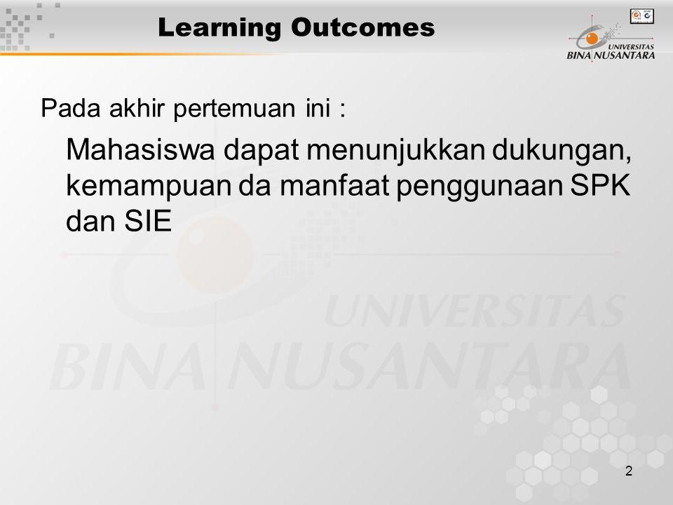 2 Learning Outcomes Pada akhir pertemuan ini : Mahasiswa dapat menunjukkan dukungan, kemampuan da manfaat penggunaan SPK dan SIE