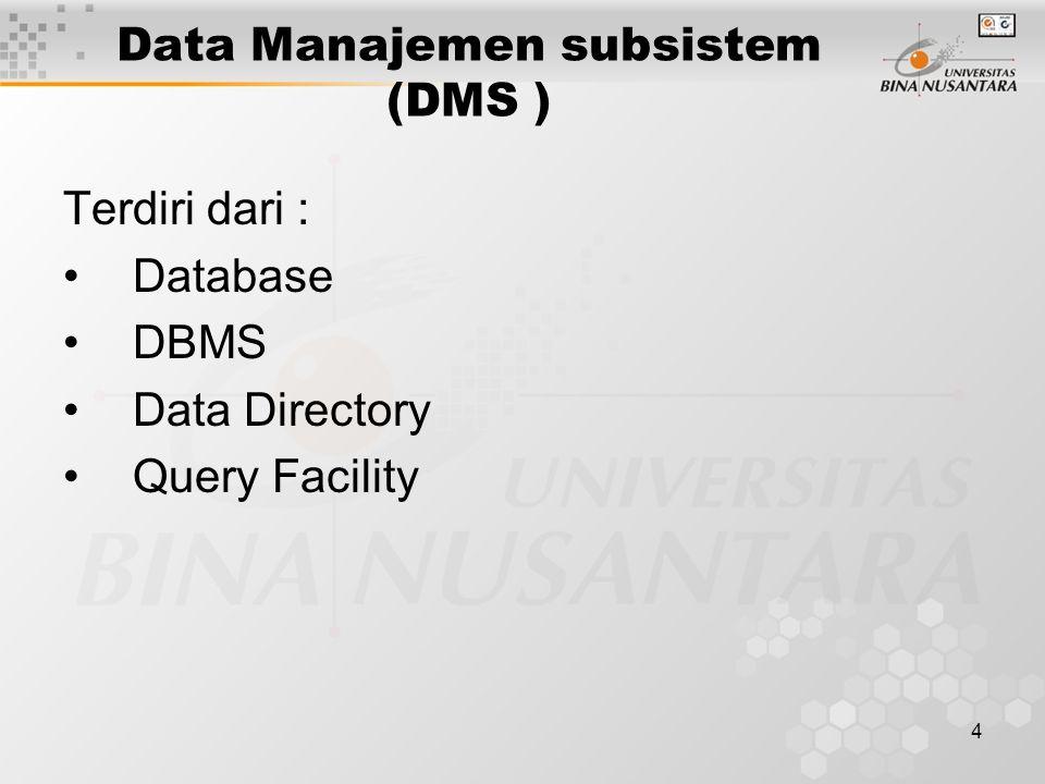 4 Data Manajemen subsistem (DMS ) Terdiri dari : Database DBMS Data Directory Query Facility