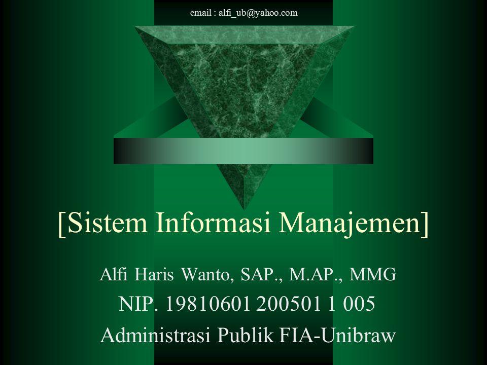 email : alfi_ub@yahoo.com Informasi  Data dan Informasi –Data : bahan keterangan tentang kejadian-kejadian nyata atau fakta-fakta yang dirumuskan dalam sekelompok lambang tertentu yang tidak acak yang menunjukkan jumlah, tindakan, atau hal.