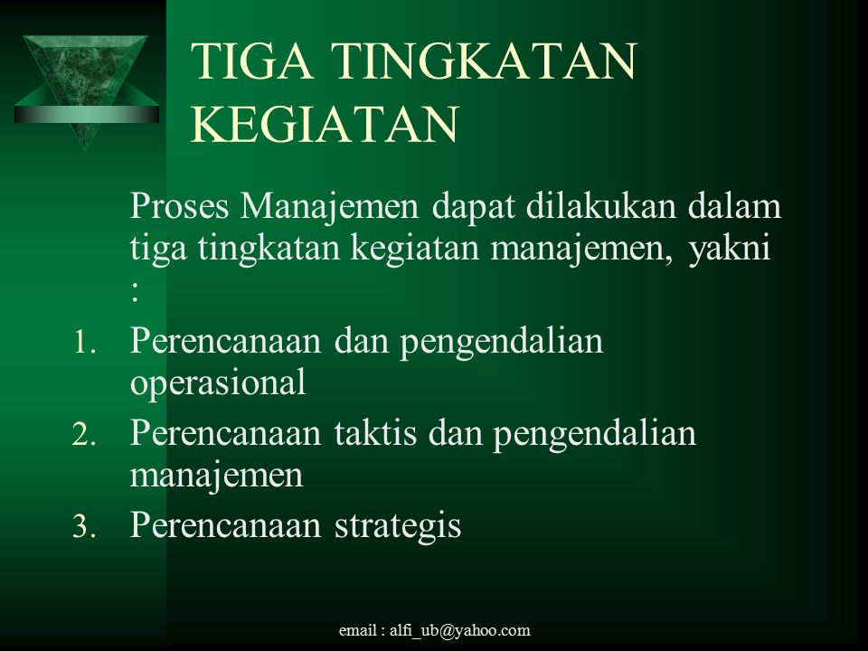 email : alfi_ub@yahoo.com TIGA TINGKATAN KEGIATAN Proses Manajemen dapat dilakukan dalam tiga tingkatan kegiatan manajemen, yakni : 1.