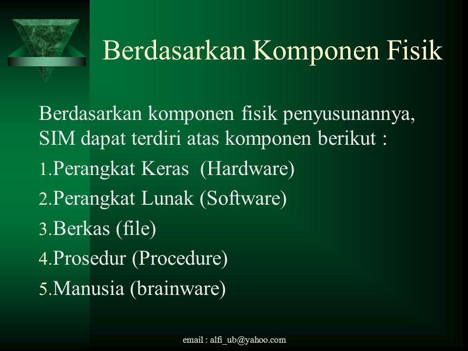 email : alfi_ub@yahoo.com Berdasarkan Komponen Fisik Berdasarkan komponen fisik penyusunannya, SIM dapat terdiri atas komponen berikut : 1.