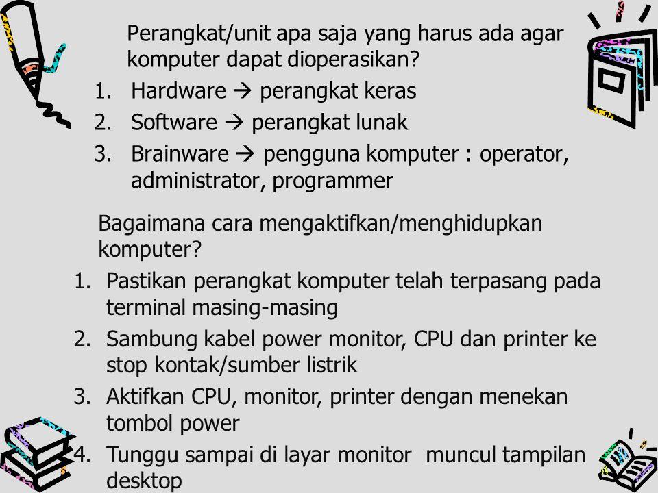 Perangkat/unit apa saja yang harus ada agar komputer dapat dioperasikan? 1.Hardware  perangkat keras 2.Software  perangkat lunak 3.Brainware  pengg
