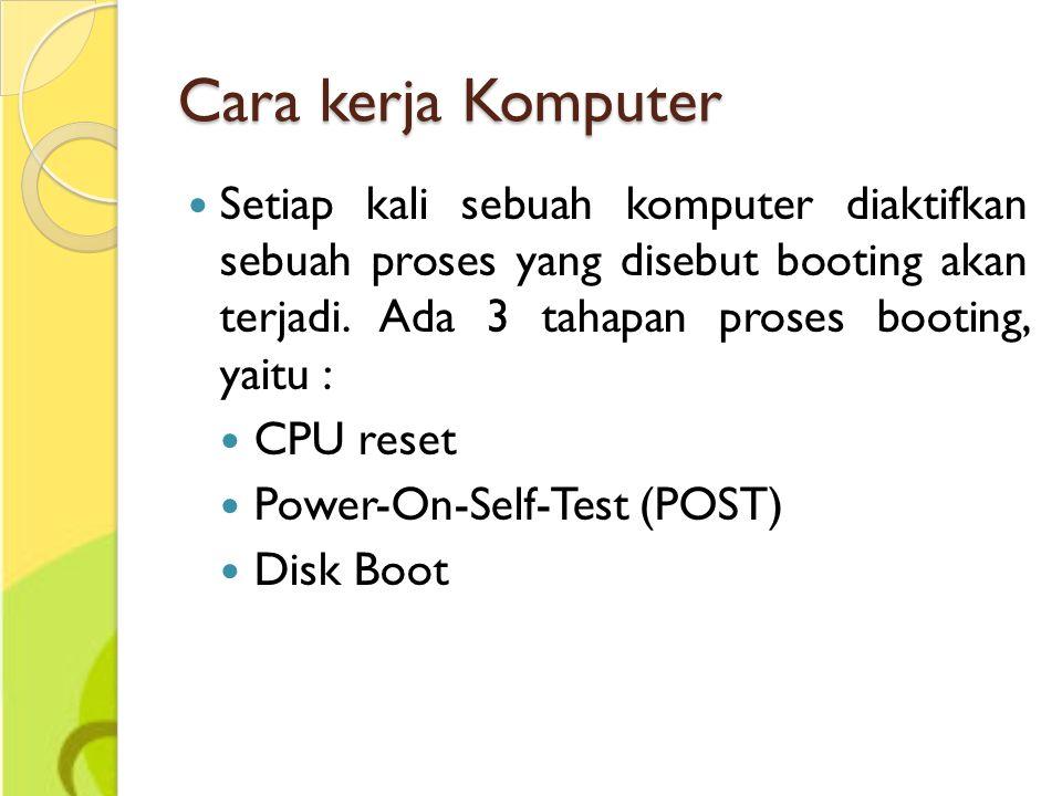 Cara kerja Komputer Setiap kali sebuah komputer diaktifkan sebuah proses yang disebut booting akan terjadi. Ada 3 tahapan proses booting, yaitu : CPU