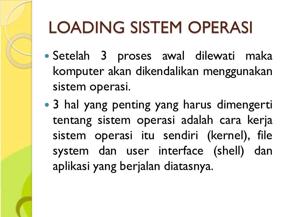 LOADING SISTEM OPERASI Setelah 3 proses awal dilewati maka komputer akan dikendalikan menggunakan sistem operasi. 3 hal yang penting yang harus dimeng