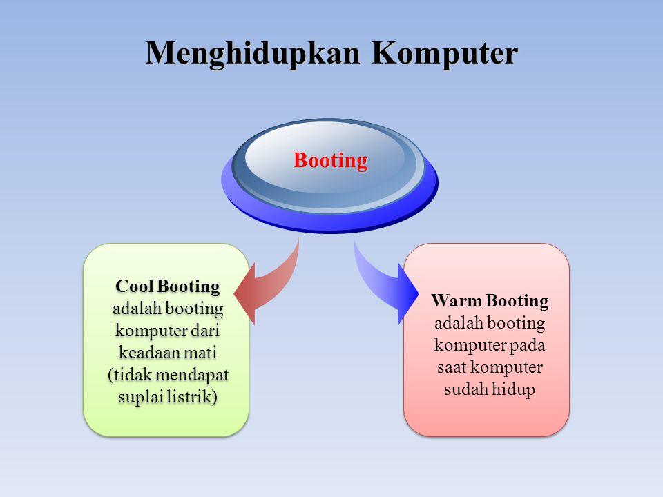 Menghidupkan Komputer Cool Booting adalah booting komputer dari keadaan mati (tidak mendapat suplai listrik) Cool Booting adalah booting komputer dari