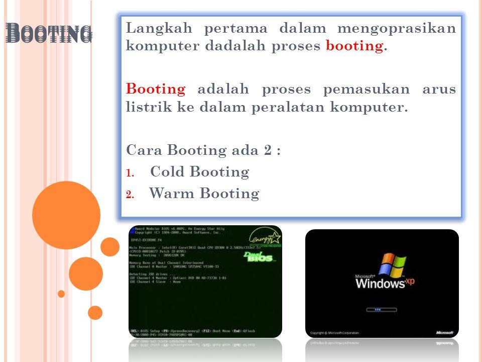 B OOTING Langkah pertama dalam mengoprasikan komputer dadalah proses booting. Booting adalah proses pemasukan arus listrik ke dalam peralatan komputer