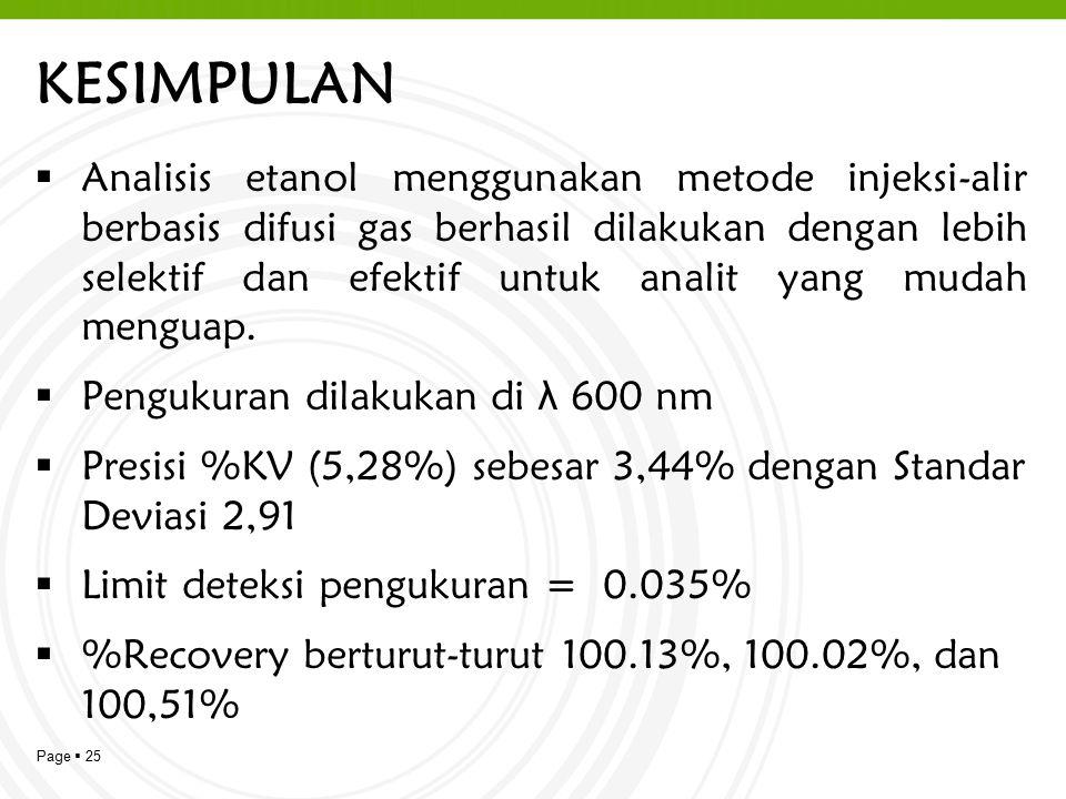 Page  25 KESIMPULAN  Analisis etanol menggunakan metode injeksi-alir berbasis difusi gas berhasil dilakukan dengan lebih selektif dan efektif untuk analit yang mudah menguap.