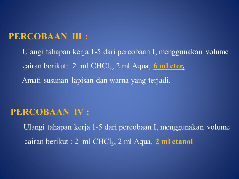 PERCOBAAN IV : Ulangi tahapan kerja 1-5 dari percobaan I, menggunakan volume cairan berikut : 2 ml CHCl 3, 2 ml Aqua, 2 ml etanol PERCOBAAN III : Ulangi tahapan kerja 1-5 dari percobaan I, menggunakan volume cairan berikut: 2 ml CHCl 3, 2 ml Aqua, 6 ml eter.