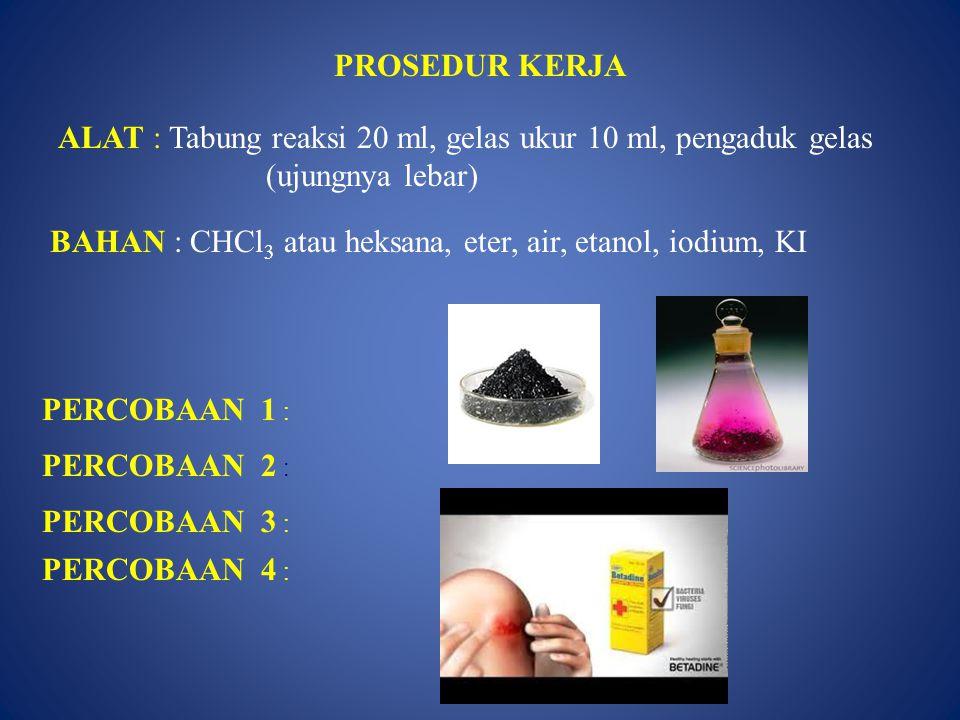 PROSEDUR KERJA ALAT : Tabung reaksi 20 ml, gelas ukur 10 ml, pengaduk gelas (ujungnya lebar) BAHAN : CHCl 3 atau heksana, eter, air, etanol, iodium, K
