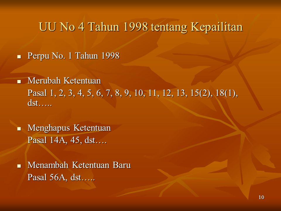 10 UU No 4 Tahun 1998 tentang Kepailitan Perpu No. 1 Tahun 1998 Perpu No. 1 Tahun 1998 Merubah Ketentuan Merubah Ketentuan Pasal 1, 2, 3, 4, 5, 6, 7,