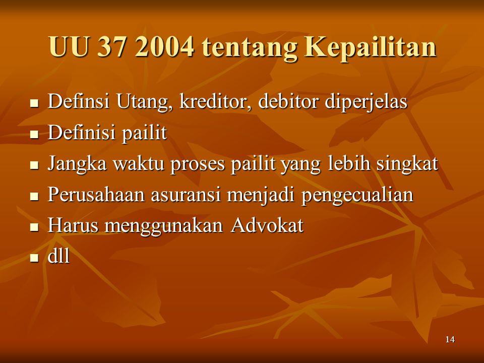 14 UU 37 2004 tentang Kepailitan Definsi Utang, kreditor, debitor diperjelas Definsi Utang, kreditor, debitor diperjelas Definisi pailit Definisi pail