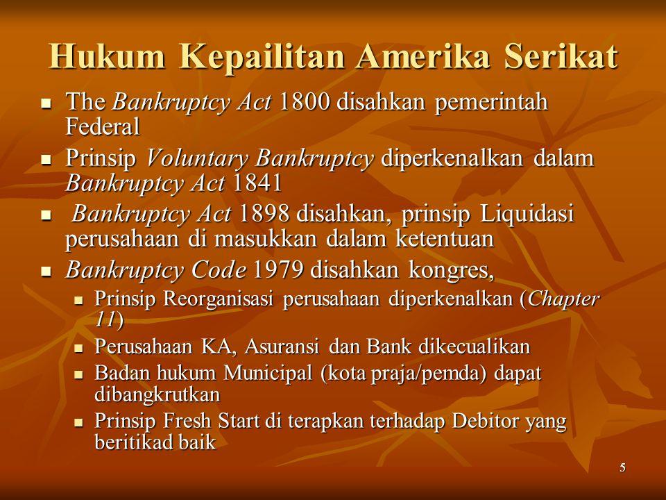 5 Hukum Kepailitan Amerika Serikat The Bankruptcy Act 1800 disahkan pemerintah Federal The Bankruptcy Act 1800 disahkan pemerintah Federal Prinsip Vol
