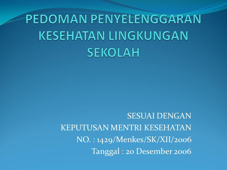 SESUAI DENGAN KEPUTUSAN MENTRI KESEHATAN NO. : 1429/Menkes/SK/XII/2006 Tanggal : 20 Desember 2006