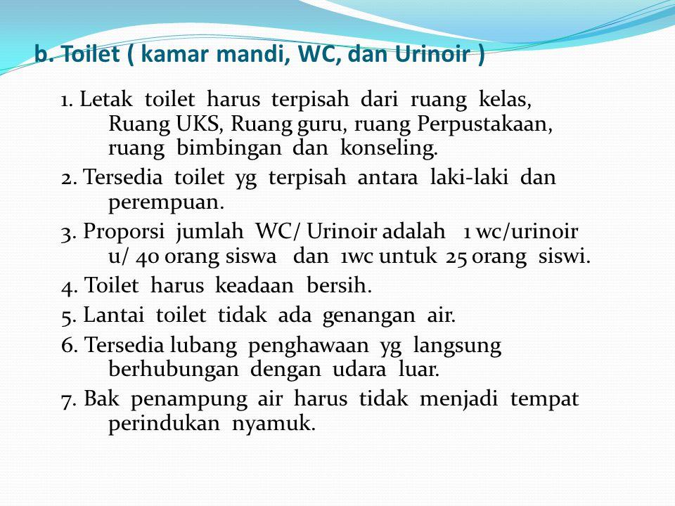 b. Toilet ( kamar mandi, WC, dan Urinoir ) 1. Letak toilet harus terpisah dari ruang kelas, Ruang UKS, Ruang guru, ruang Perpustakaan, ruang bimbingan