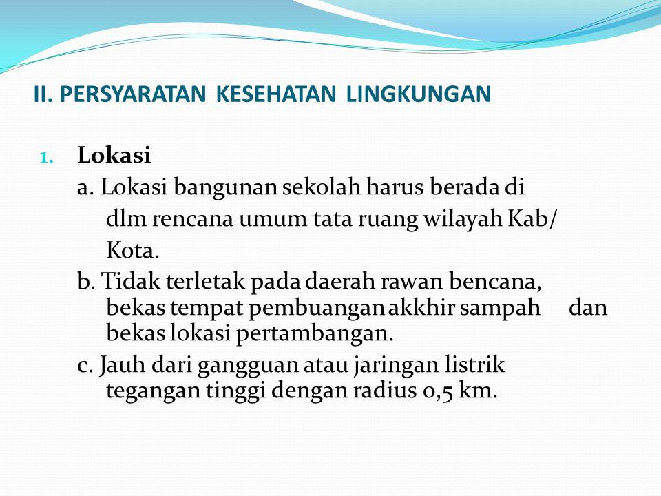 II.PERSYARATAN KESEHATAN LINGKUNGAN 1. Lokasi a.