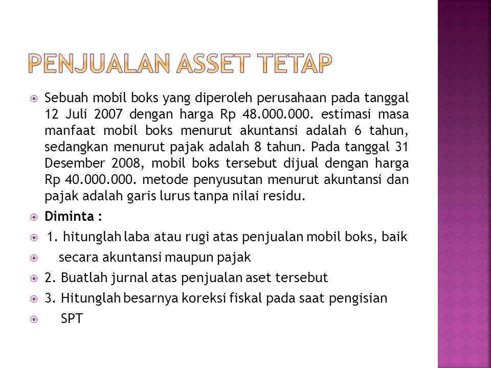  Sebuah mobil boks yang diperoleh perusahaan pada tanggal 12 Juli 2007 dengan harga Rp 48.000.000. estimasi masa manfaat mobil boks menurut akuntansi