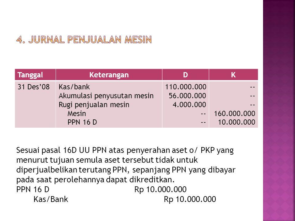 Sesuai pasal 16D UU PPN atas penyerahan aset o/ PKP yang menurut tujuan semula aset tersebut tidak untuk diperjualbelikan terutang PPN, sepanjang PPN