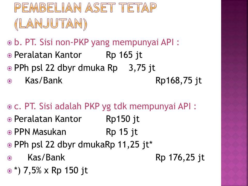  b. PT. Sisi non-PKP yang mempunyai API :  Peralatan KantorRp 165 jt  PPh psl 22 dbyr dmuka Rp 3,75 jt  Kas/BankRp168,75 jt  c. PT. Sisi adalah P