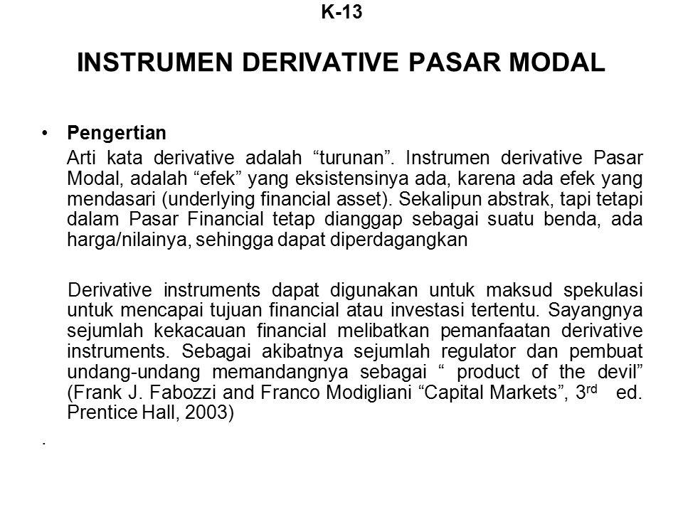 K-13 INSTRUMEN DERIVATIVE PASAR MODAL Pengertian Arti kata derivative adalah turunan .