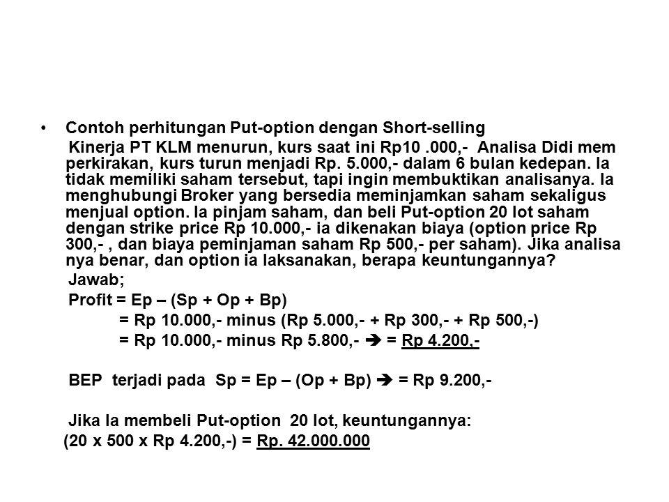 Contoh perhitungan Put-option dengan Short-selling Kinerja PT KLM menurun, kurs saat ini Rp10.000,- Analisa Didi mem perkirakan, kurs turun menjadi Rp.