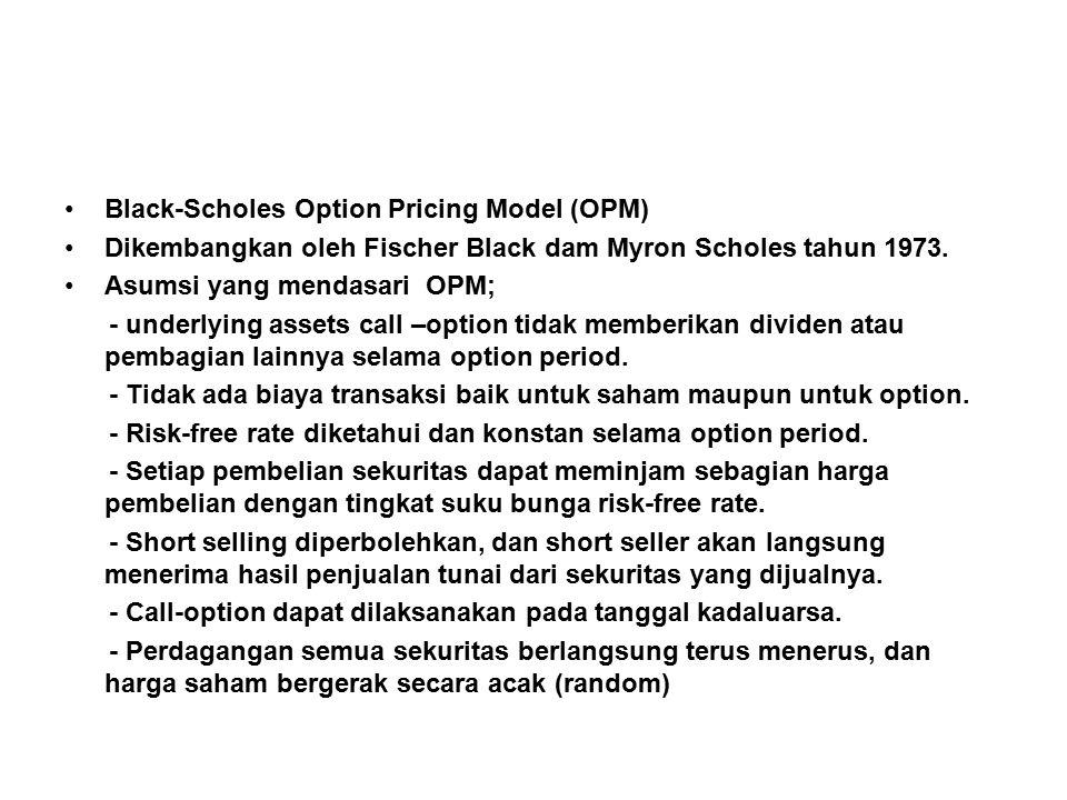 Black-Scholes Option Pricing Model (OPM) Dikembangkan oleh Fischer Black dam Myron Scholes tahun 1973.