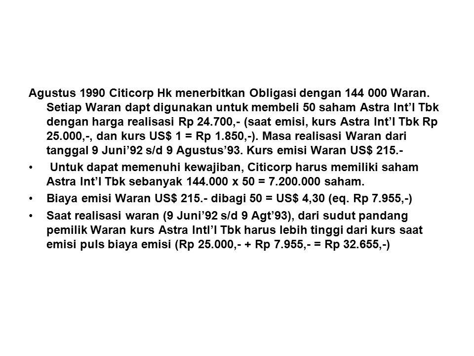 Agustus 1990 Citicorp Hk menerbitkan Obligasi dengan 144 000 Waran.