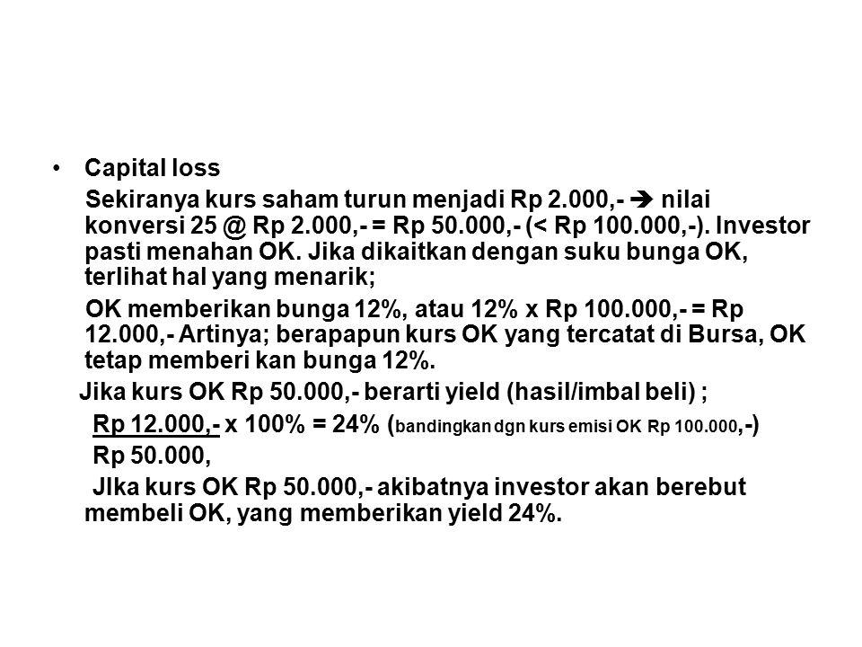 Capital loss Sekiranya kurs saham turun menjadi Rp 2.000,-  nilai konversi 25 @ Rp 2.000,- = Rp 50.000,- (< Rp 100.000,-).