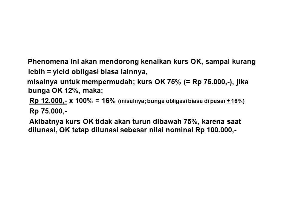 Phenomena ini akan mendorong kenaikan kurs OK, sampai kurang lebih = yield obligasi biasa lainnya, misalnya untuk mempermudah; kurs OK 75% (= Rp 75.000,-), jika bunga OK 12%, maka; Rp 12.000,- x 100% = 16% (misalnya; bunga obligasi biasa di pasar + 16%) Rp 75.000,- Akibatnya kurs OK tidak akan turun dibawah 75%, karena saat dilunasi, OK tetap dilunasi sebesar nilai nominal Rp 100.000,-