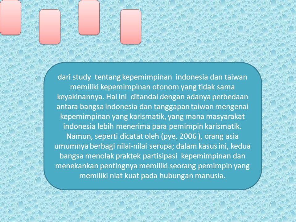 dari study tentang kepemimpinan indonesia dan taiwan memiliki kepemimpinan otonom yang tidak sama keyakinannya. Hal ini ditandai dengan adanya perbeda