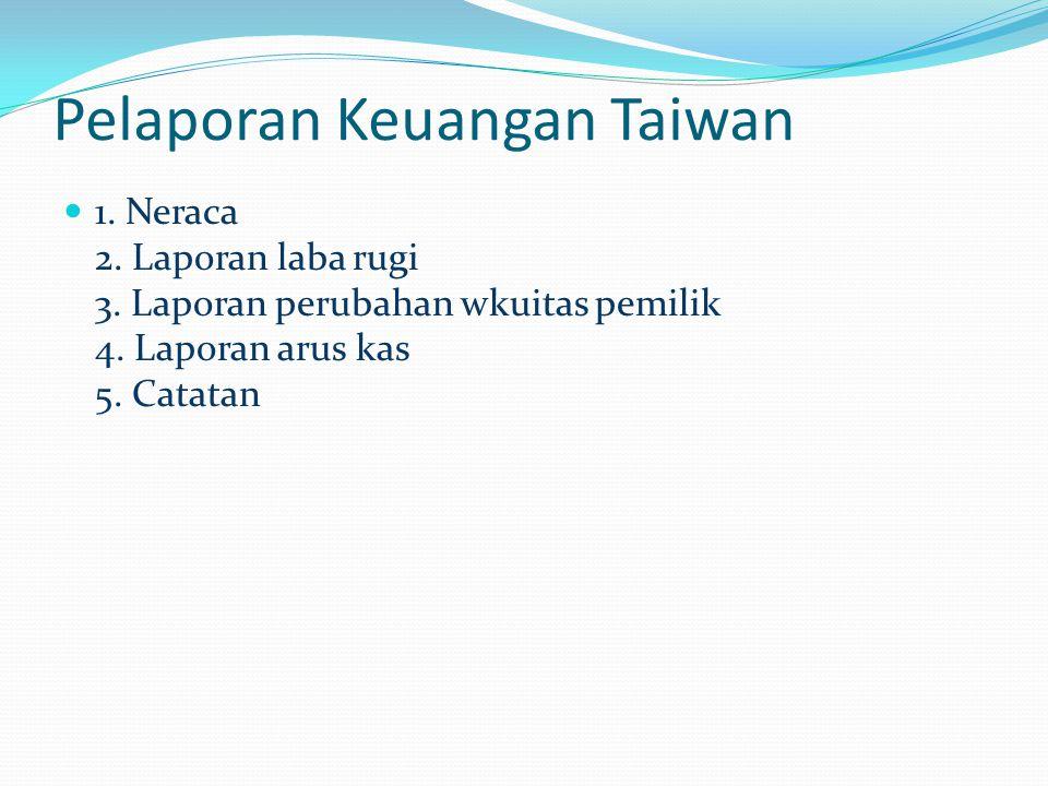 Pelaporan Keuangan Taiwan 1. Neraca 2. Laporan laba rugi 3. Laporan perubahan wkuitas pemilik 4. Laporan arus kas 5. Catatan
