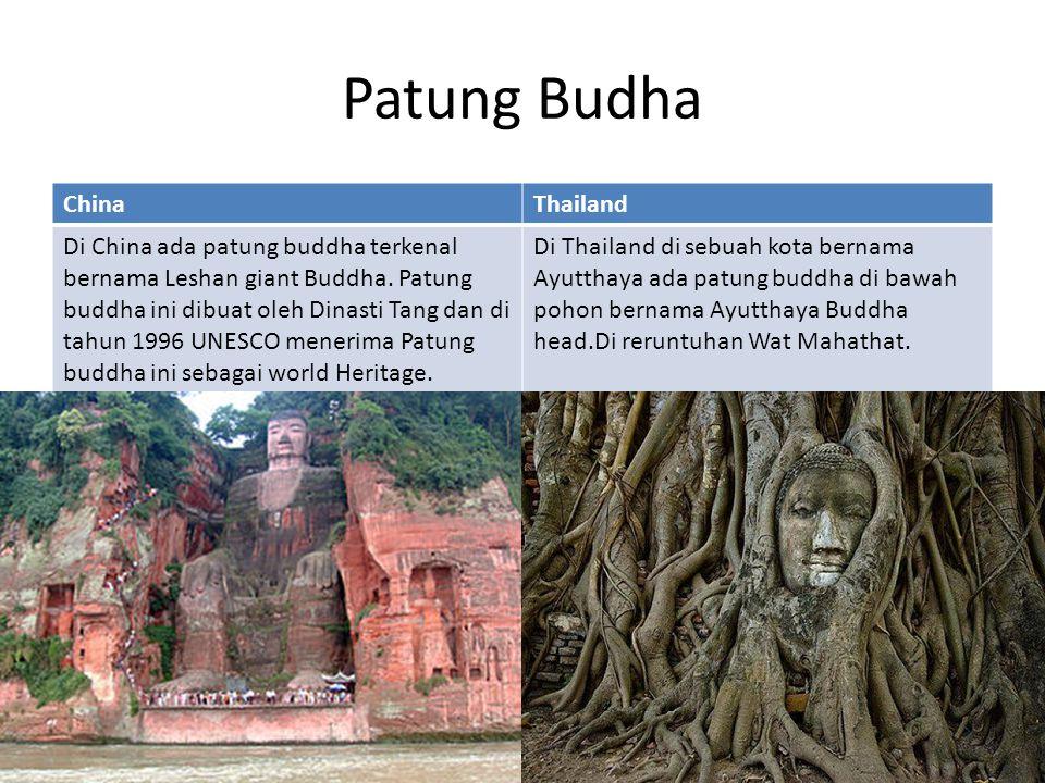 Patung Budha ChinaThailand Di China ada patung buddha terkenal bernama Leshan giant Buddha. Patung buddha ini dibuat oleh Dinasti Tang dan di tahun 19