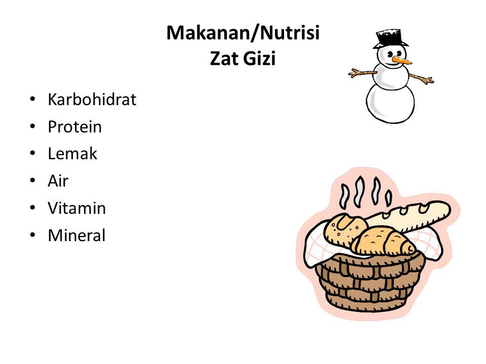 Makanan/Nutrisi Zat Gizi Karbohidrat Protein Lemak Air Vitamin Mineral