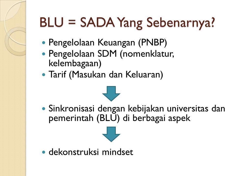 BLU = SADA Yang Sebenarnya? Pengelolaan Keuangan (PNBP) Pengelolaan SDM (nomenklatur, kelembagaan) Tarif (Masukan dan Keluaran) Sinkronisasi dengan ke