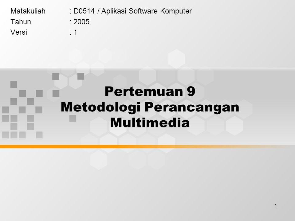 1 Pertemuan 9 Metodologi Perancangan Multimedia Matakuliah: D0514 / Aplikasi Software Komputer Tahun: 2005 Versi: 1