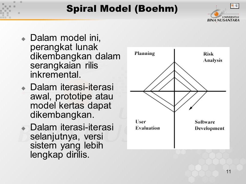 11 Spiral Model (Boehm)  Dalam model ini, perangkat lunak dikembangkan dalam serangkaian rilis inkremental.  Dalam iterasi-iterasi awal, prototipe a