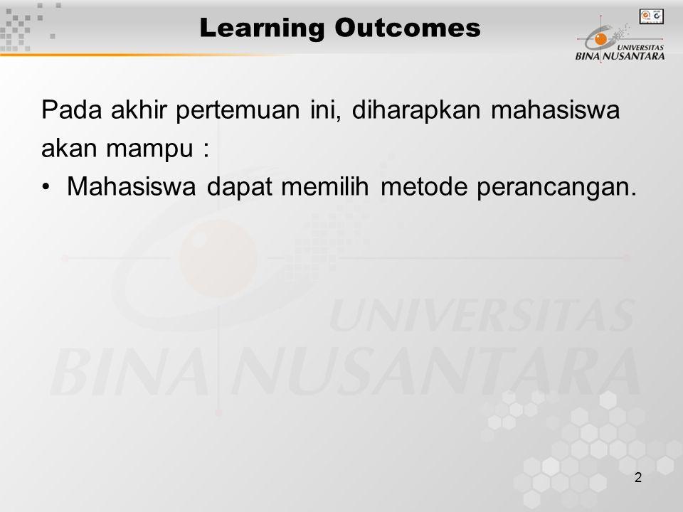 2 Learning Outcomes Pada akhir pertemuan ini, diharapkan mahasiswa akan mampu : Mahasiswa dapat memilih metode perancangan.