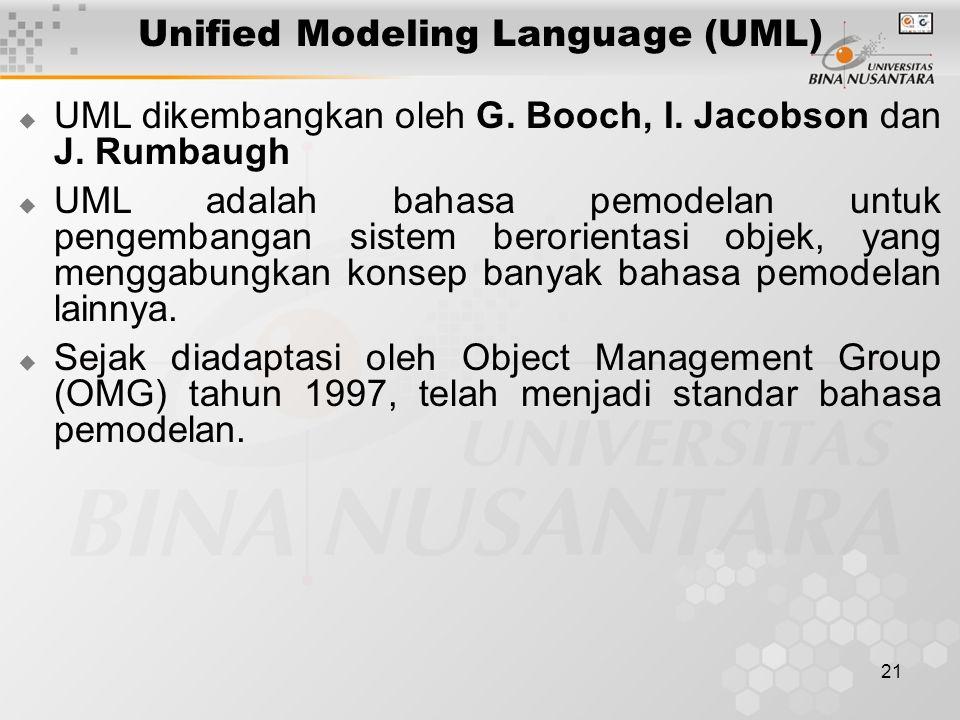 21 Unified Modeling Language (UML)  UML dikembangkan oleh G. Booch, I. Jacobson dan J. Rumbaugh  UML adalah bahasa pemodelan untuk pengembangan sist