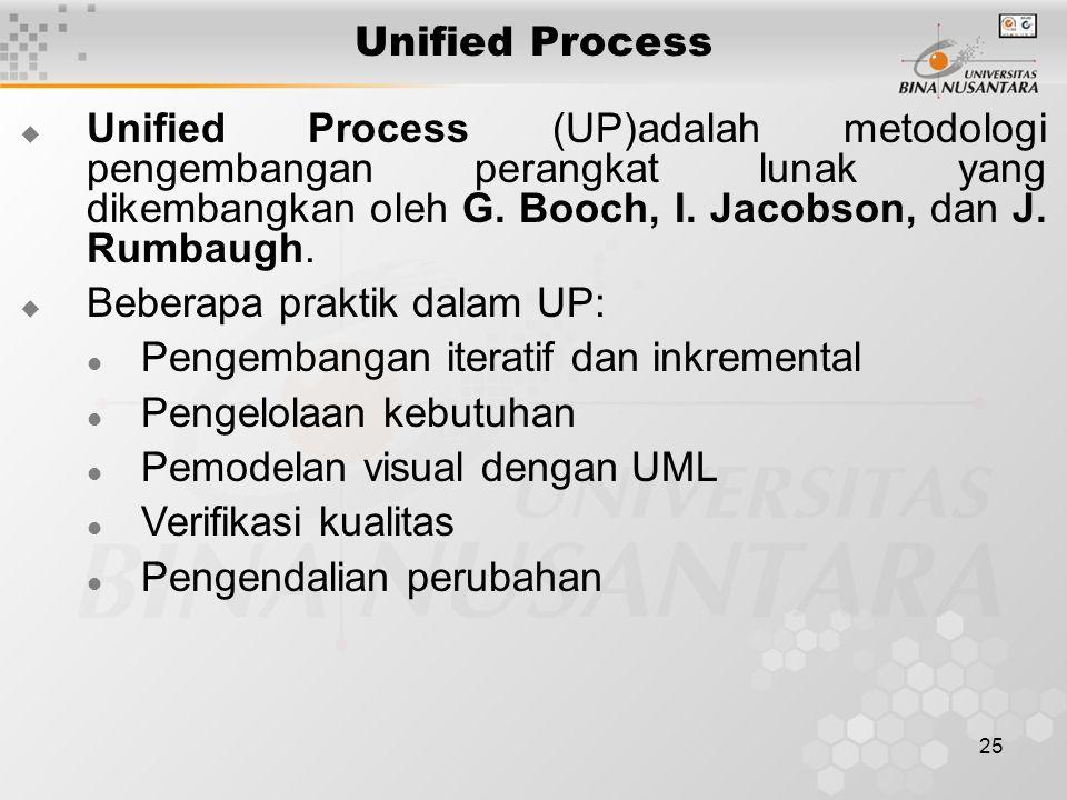 25 Unified Process  Unified Process (UP)adalah metodologi pengembangan perangkat lunak yang dikembangkan oleh G. Booch, I. Jacobson, dan J. Rumbaugh.